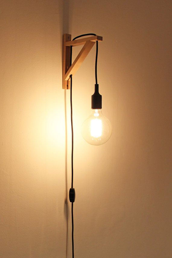 Plug In Wall Sconce, Wooden Lamp, Wooden Square Lamp   2 METERS BLACK  Fabric Cord With Black Switch And Black Plug And Bulb Socket