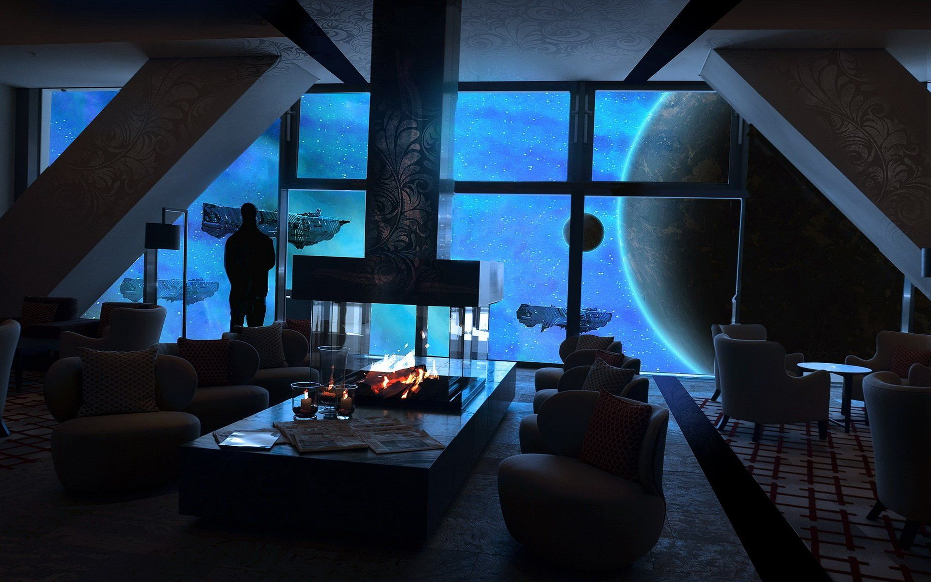 Sci Fi Space Station Wallpaper Apartment Wallpaper Space Interior Design Futuristic Cities