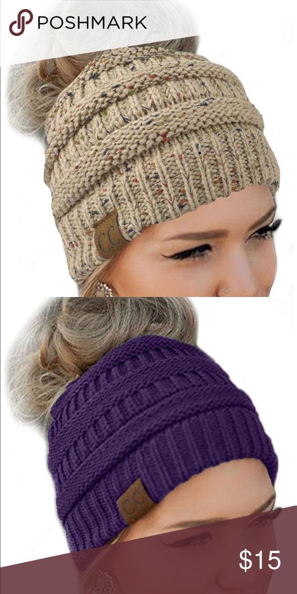 87211ec52ac 💕3  25 Messy Bun Beanie Hat. NWOT CC messy bun beanie hat. One size ...
