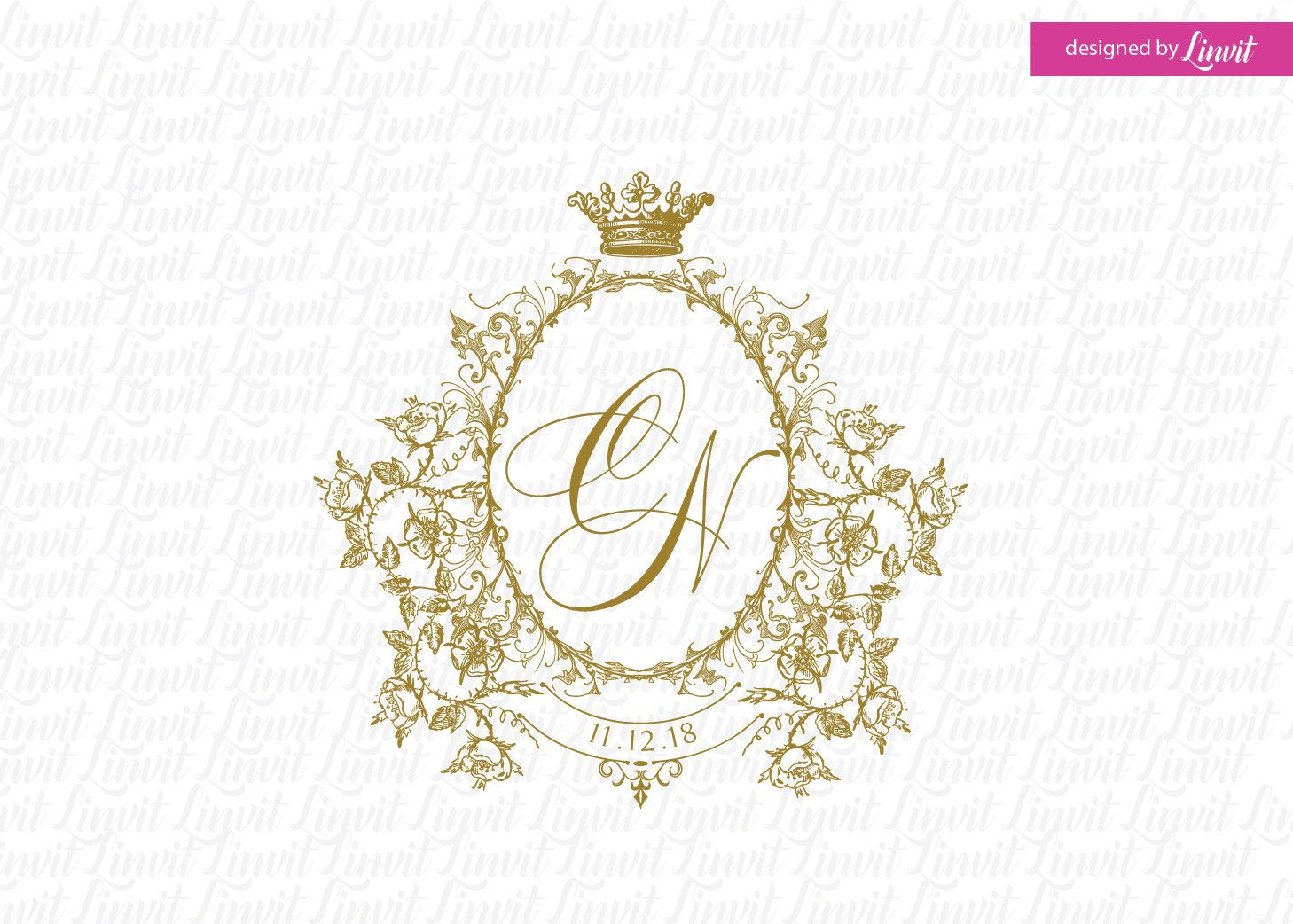 Royal Wedding Monogram Wedding Logo Wedding Crest Custom Wedding Logo Logo Matrimonio Regal Wedding Custom Wedding Monogram Monogram Wedding Wedding Logos