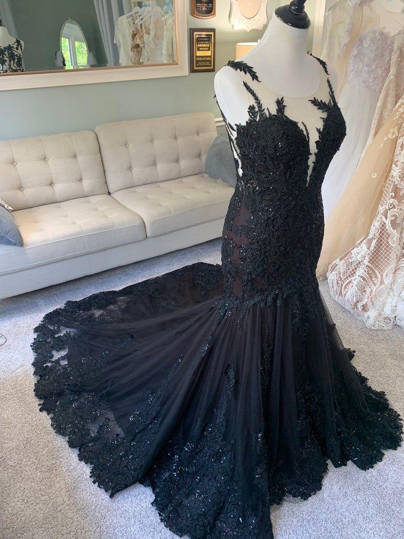 Black Wedding Dress Gothic Wedding Dress Mermaid Black Dress A Line Wedding Dress Black Lace Wedding Dress Illusion Back Wedding Dress Custom Wedding Dress Sketch Wedding Dress Fabrics Black Lace Wedding Dress [ 1059 x 794 Pixel ]