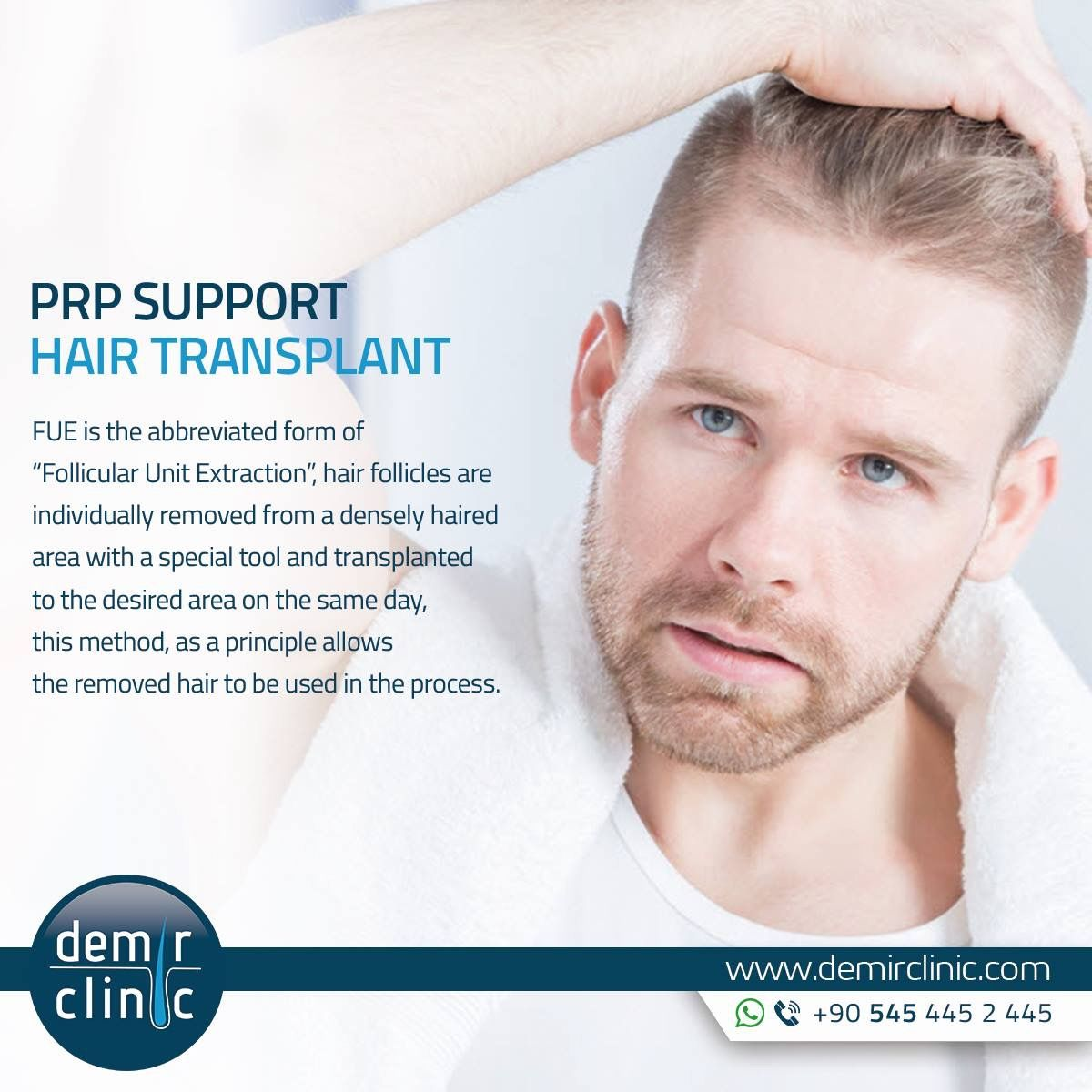 """FUE is the abbreviated form of """"Follicular Unit Extraction"""", hair follicles are individually removed from a densely haired area with a special tool and transplanted to the desired area on the same day, this method, as a principle allows the removed hair to be used in the process. #FUE #HairTransplant #FollicularUnitExtraction #Turkey #İstanbul #FueHairTransplant #Graft #Aesthetic #Doctor #DrDemir #Medical #Hair #Transplant #DemirClinic"""