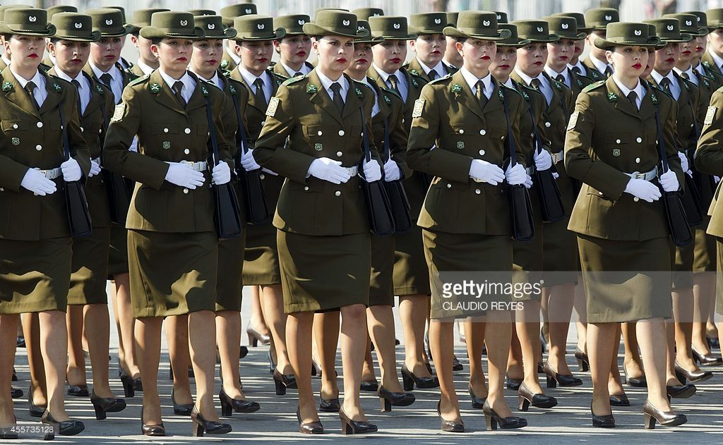 Women in military in pantyhose
