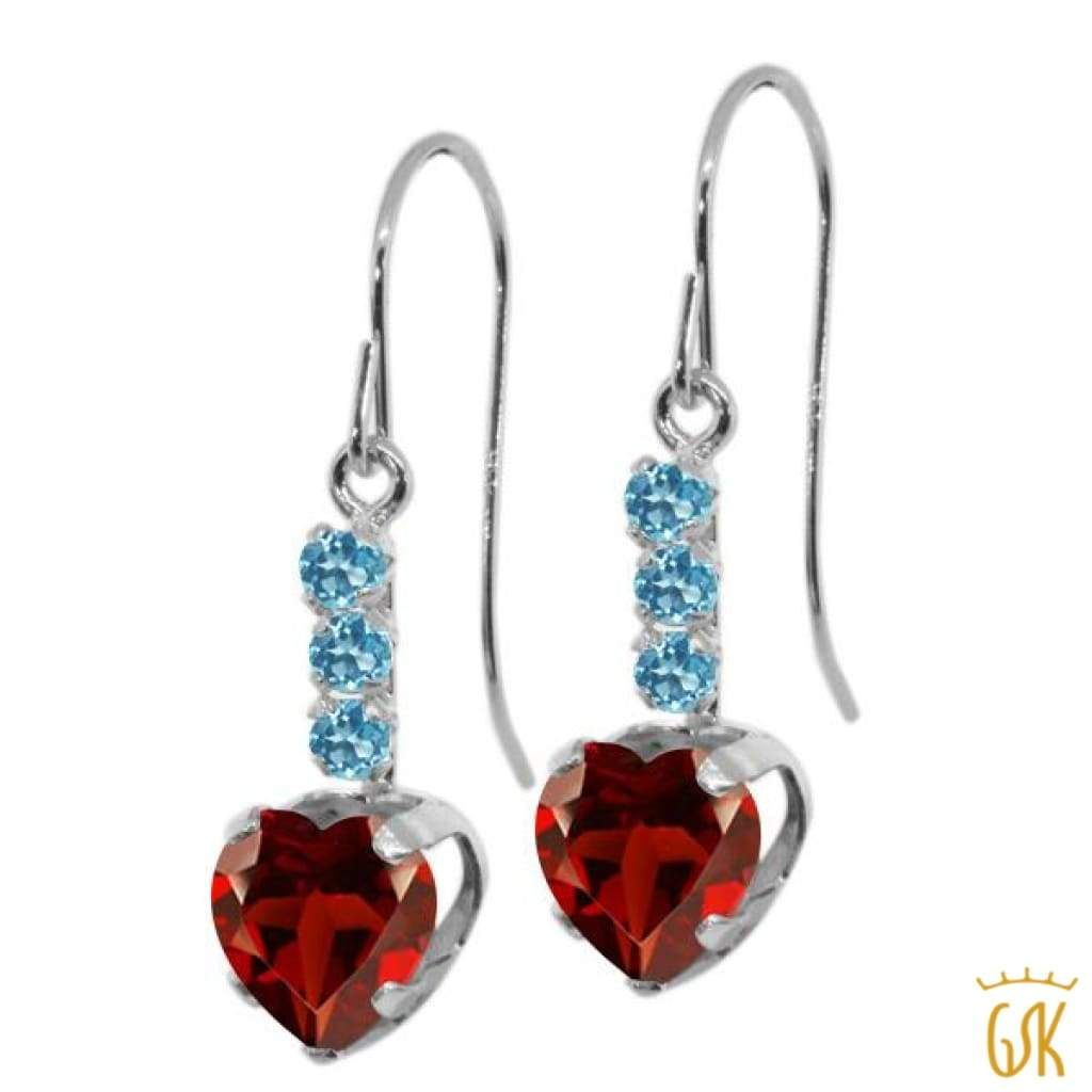 Simulated Garnet Heart Dangle Leverback Earrings 14K Yellow Gold Over Sterling Silver