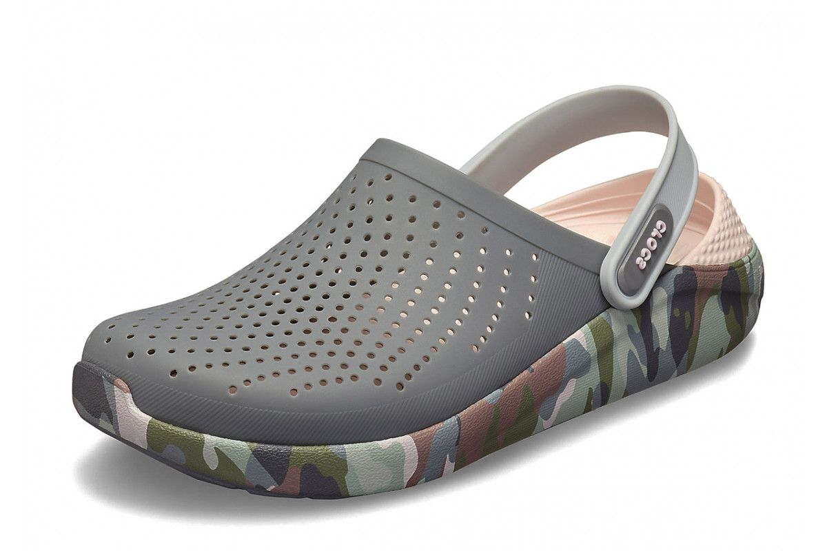 677ef0cec61545 Crocs Literide Graphic Clog Charcoal Grey Camo Slip On Comfort Shoes ...