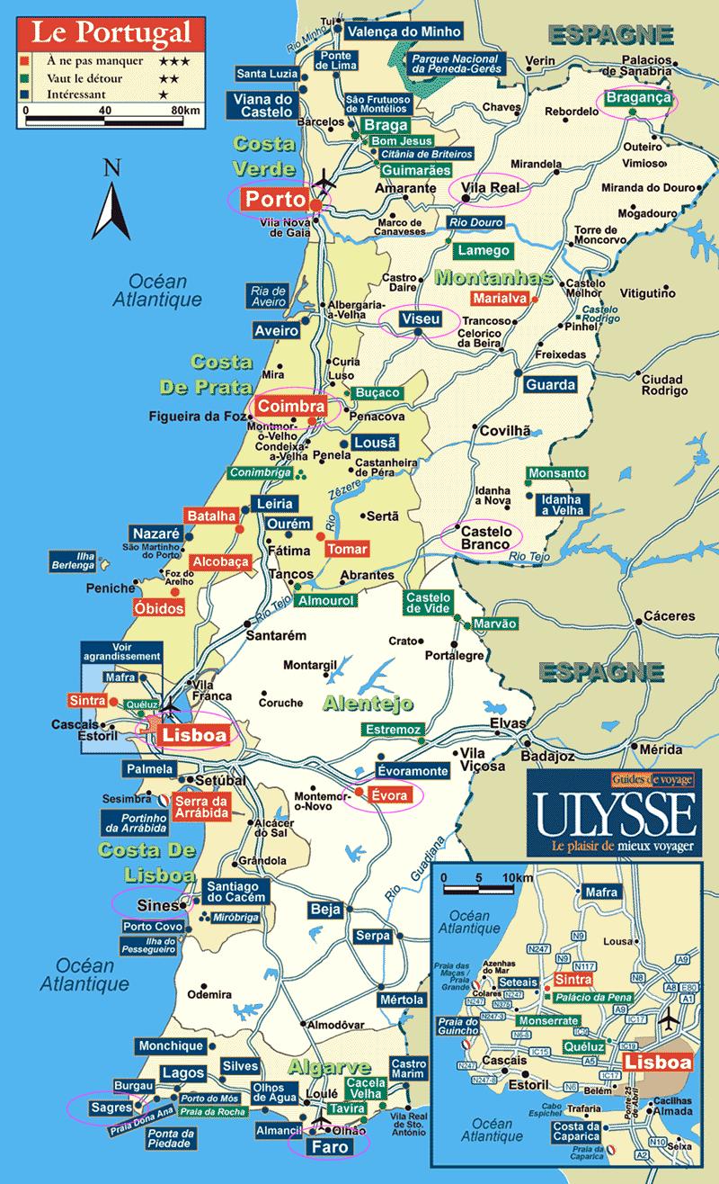 mapa de portugal cidades Mapa dos Melhores Destinos de Portugal, TOP 10 para Visitar  mapa de portugal cidades