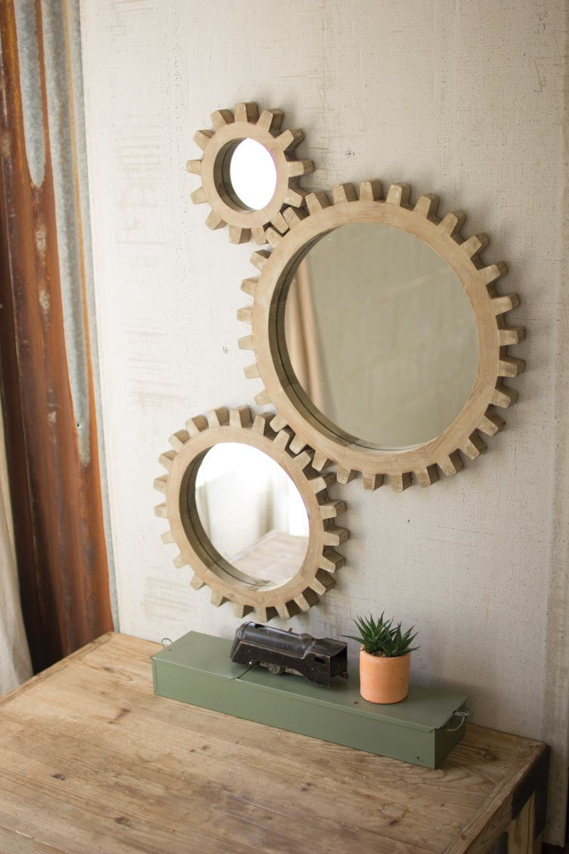 Set Of 3 Wooden Gears Mirrors Modern Mirror Wall Mirror Wall Decor Mirror Design Wall