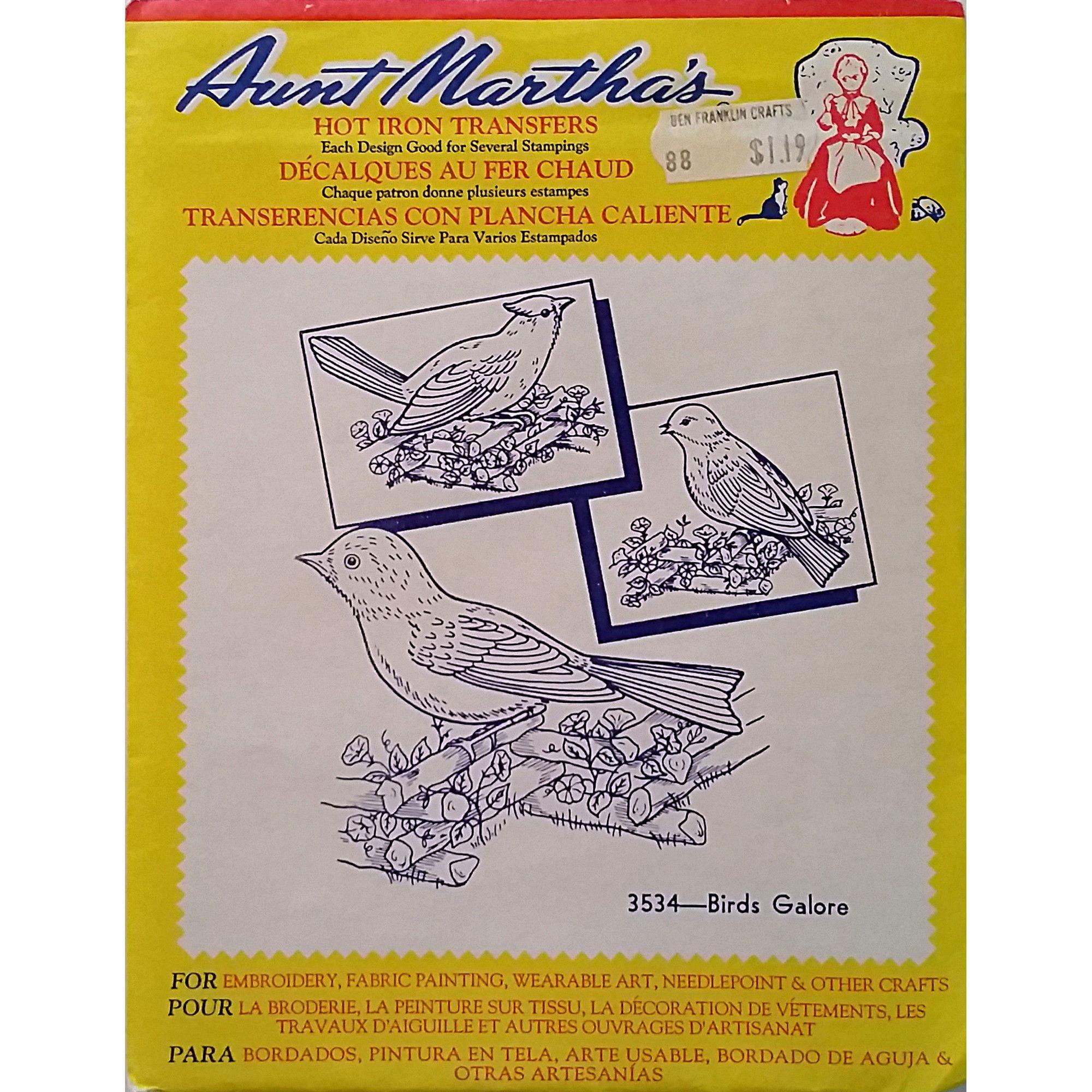 Birds galore aunt marthas vintage hot iron transfer needlework