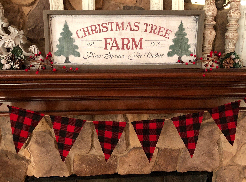 Red And Black Buffalo Check Flannel Fabric Flag Banner Christmas