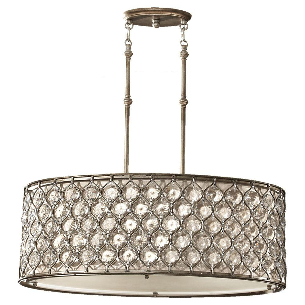Feiss Lucia 3 Light Burnished Silver Large Pendant F2569 3bus The Home Depot Drum Pendant Lighting Drum Pendant Feiss Lighting