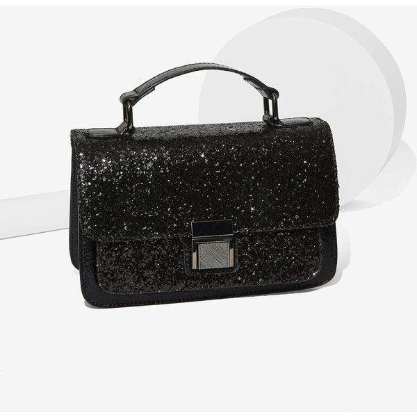 Nasty Gal x Nila Anthony Pick of the Glitter Crossbody Bag ($48) ❤ liked on Polyvore featuring bags, handbags, shoulder bags, black, crossbody handbags, chain shoulder bag, black crossbody purse, flap crossbody and black shoulder bag