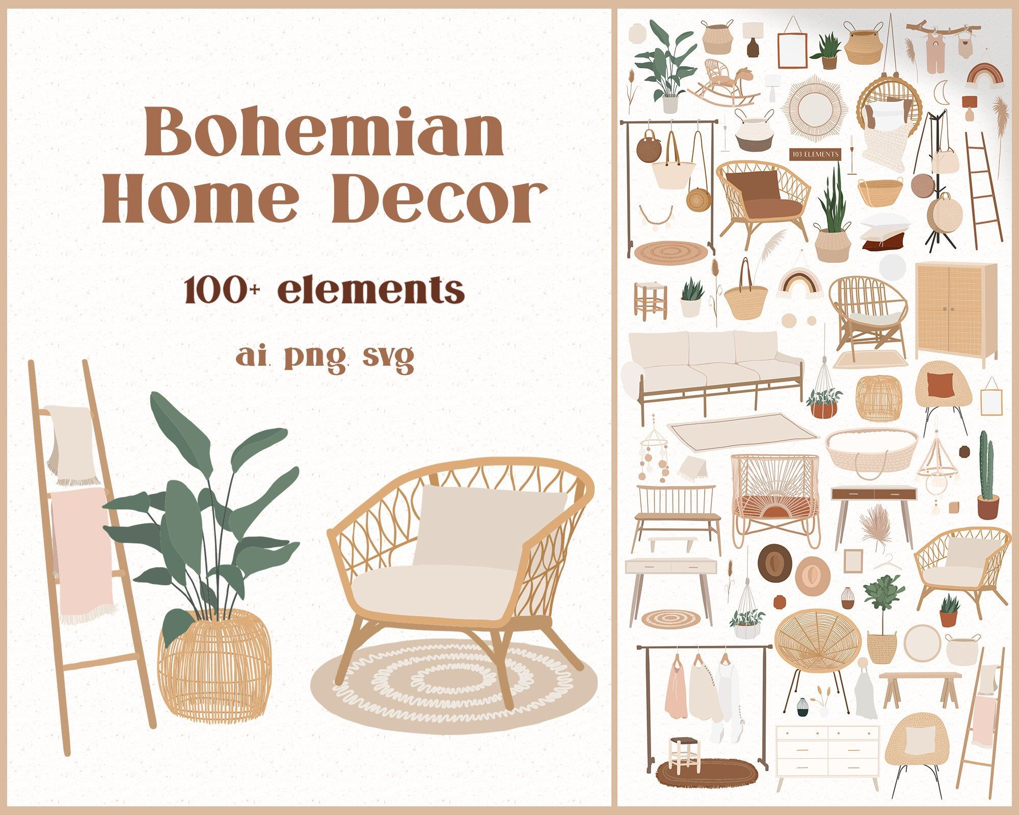 Bohemian Decor Illustrations Cozy Boho Interior Furniture Etsy
