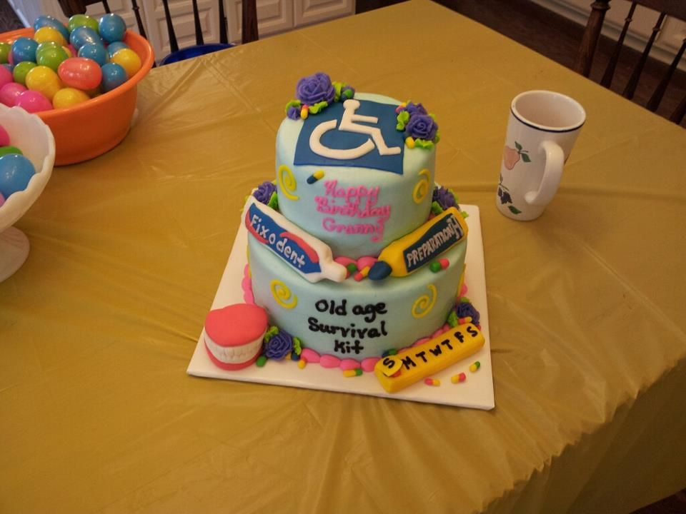 Old Age Survival Kit Cake made by my son and daughterinlaw for