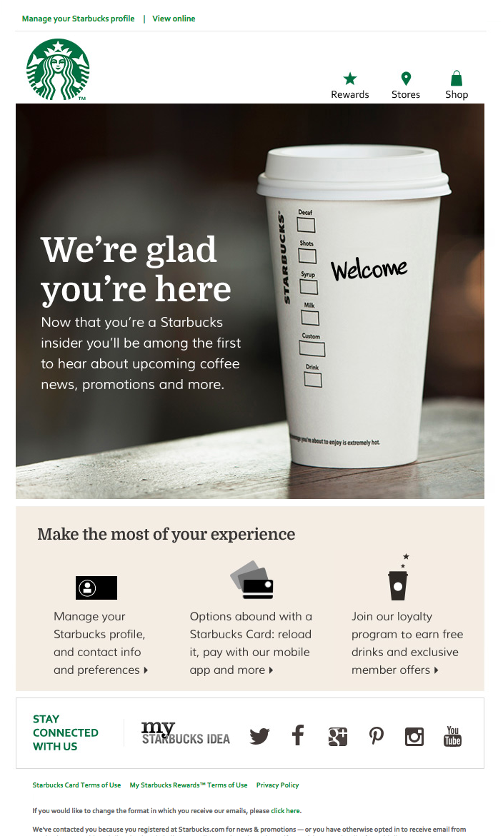 Welcome Email - Starbucks Nice welcome email from Starbucks. Simple ...