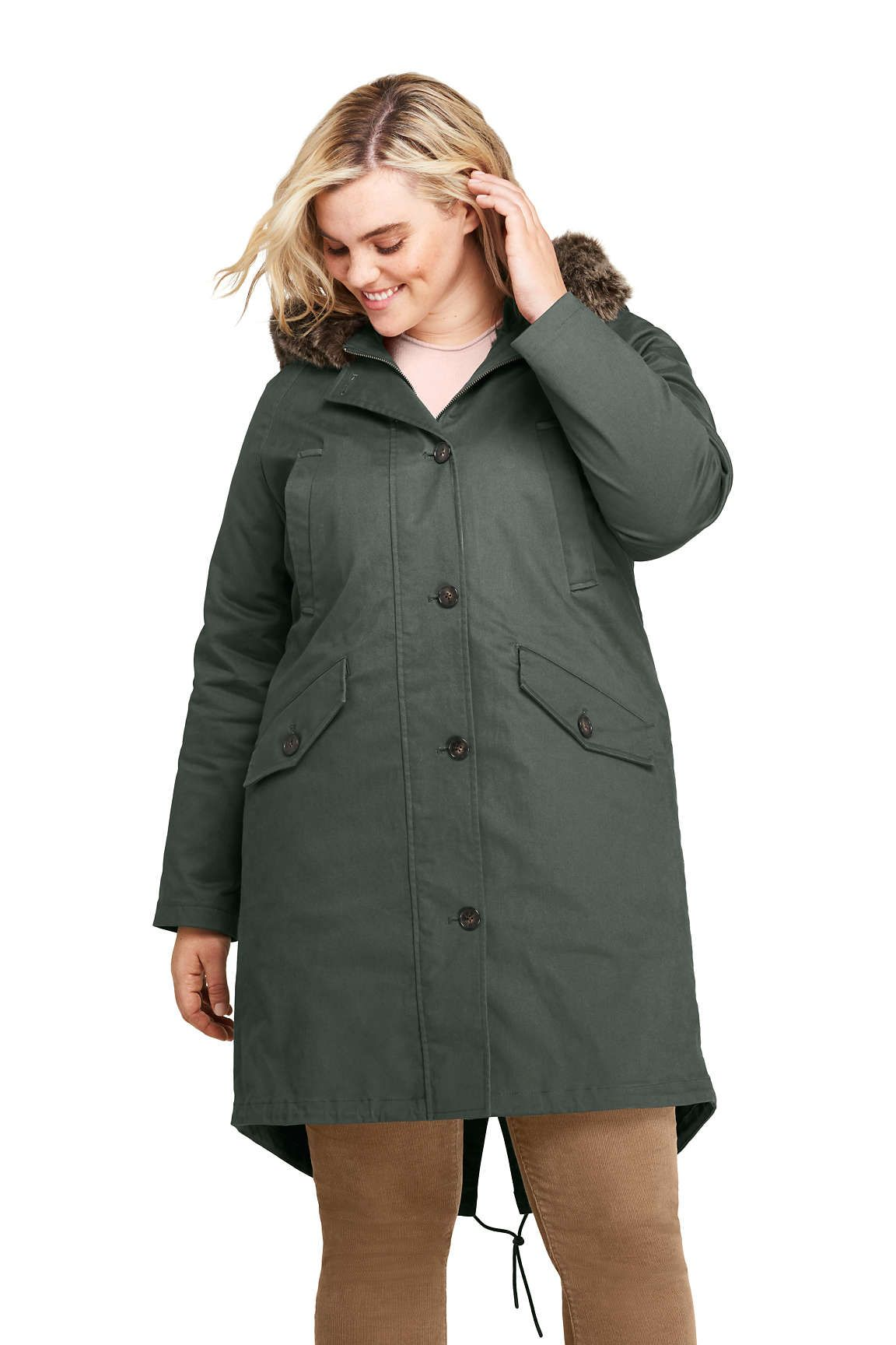 0557209cf8e Women s Plus Size 3 in 1 Long Cotton Parka from Lands  End