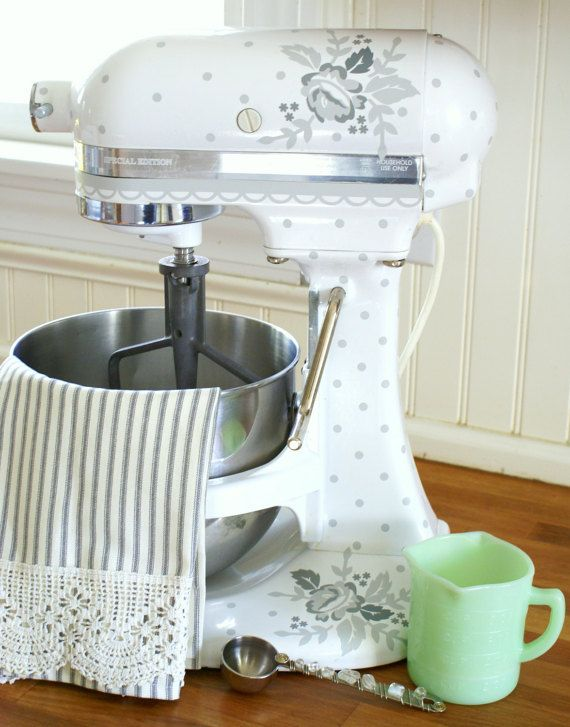 Swiss Dots And Roses Grey Kitchen Aid Mixer Decal Kitchen Aid Kitchen Aid Mixer