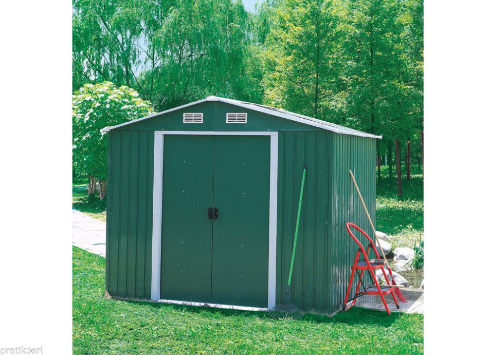 Casetta Giardino In Lamiera : Box casetta giardino esterno lamiera verde h xp xl cm
