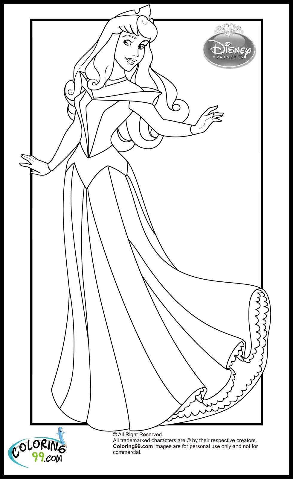 Generic princess coloring pages - Disney Princess Aurora Coloring Pages