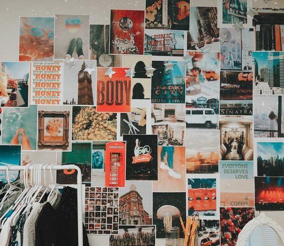 Tangerine Wall Kit / Collage Kit / Dorm Decor / Collage / Wall Art / Photo Collage #collagewalls