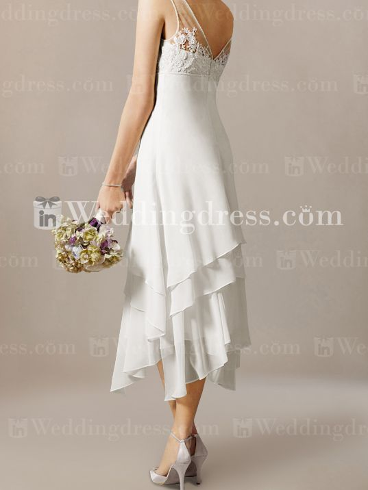 casual calf length short wedding dress beach - Google Search ...