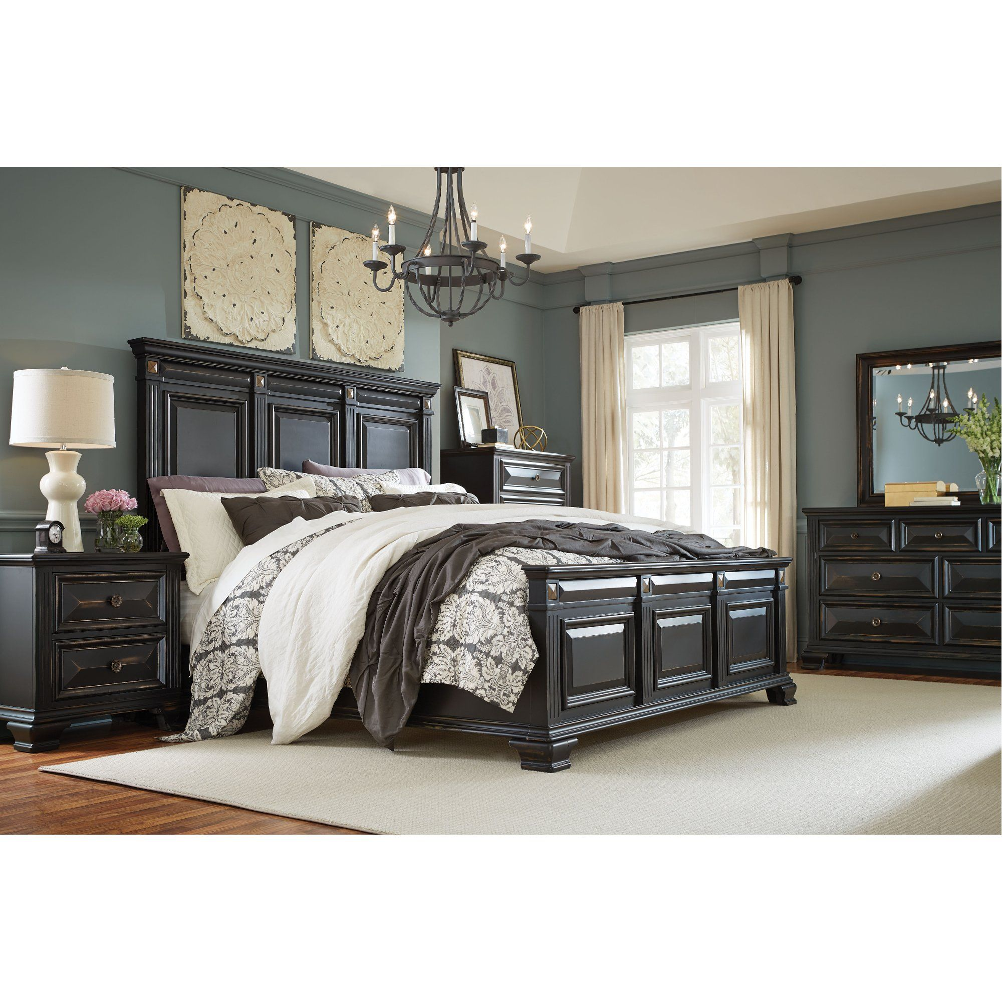 Black Traditional 4 Piece King Bedroom Set Passages King Bedroom Sets Wood Bedroom Sets Bedroom Sets Queen