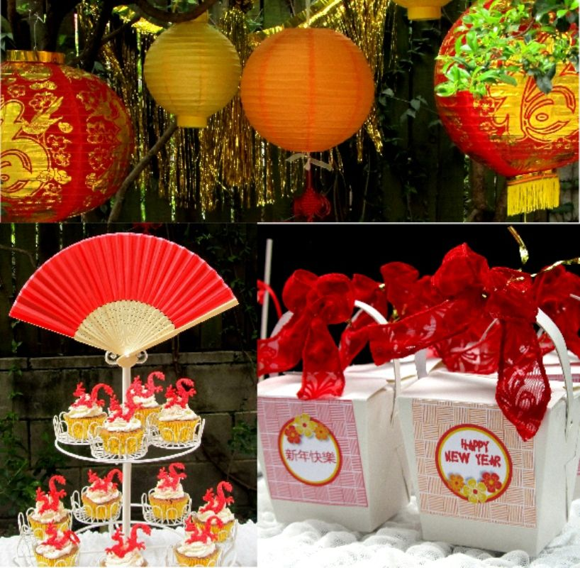 chinese new year party ideas diy decorations with printables and lots of food ideas via birdspartycom