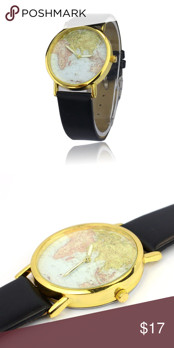 Women watch world map design leather alloy band map design women watch world map design leather alloy band gumiabroncs Images