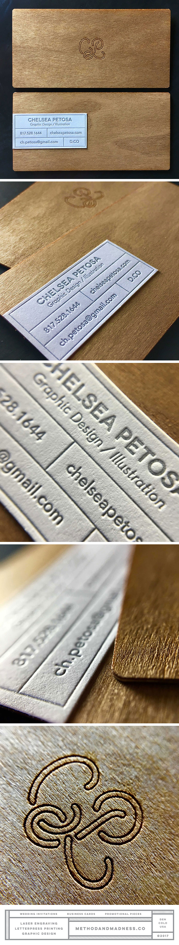 2 ply wood veneer business cards with laser engraved logo and