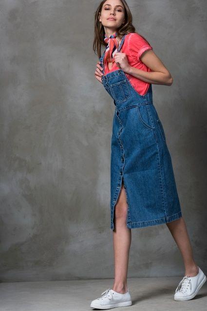 90tl Mavi Jean Elbise Mlwss16en1951 Moda Stilleri Elbise Trendler