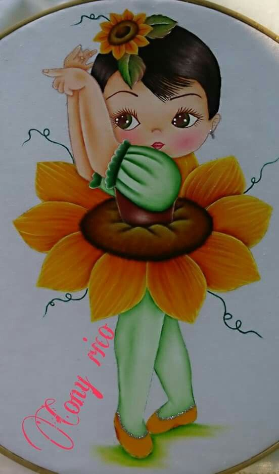 Ni a girasol pintura pinterest pintura textil - Dibujos para pintar en tela infantiles ...