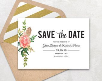 Printable Save The Date Card Save The Date Template Peony