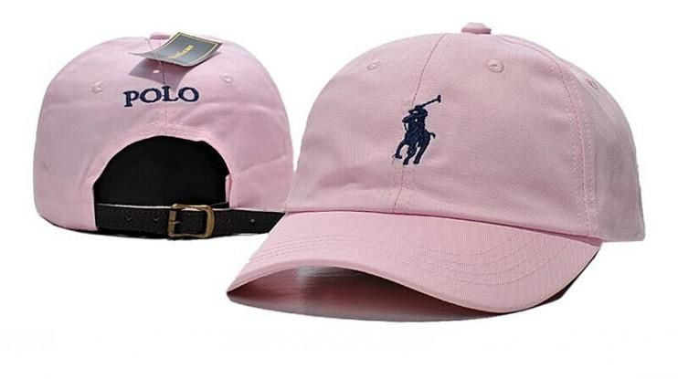 b2f34092cca4 Men s   Women s Polo Ralph Lauren Small Pony Logo Leather Strap Back  Adjustable Baseball Hat - Pink   Navy