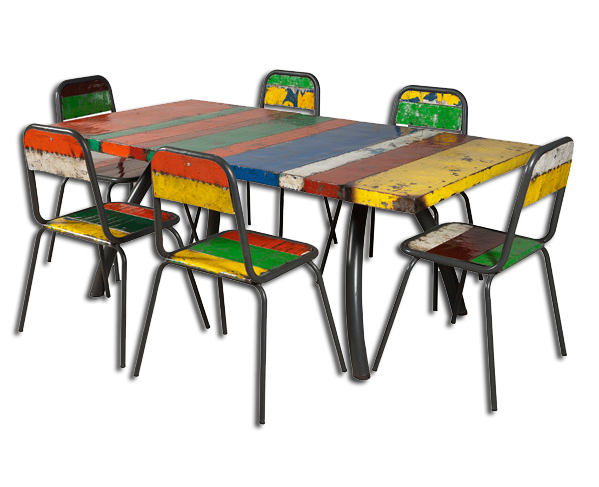 Dining Table Set recycled oil drum Outdoor Furniture Tiffin