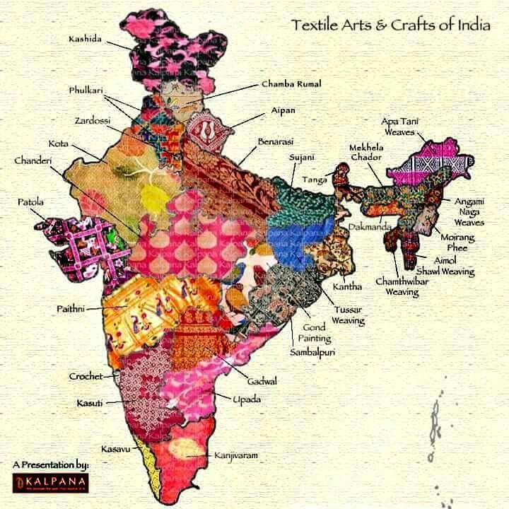 Textile Arts And Crafts Of India India Map India Art India Textiles