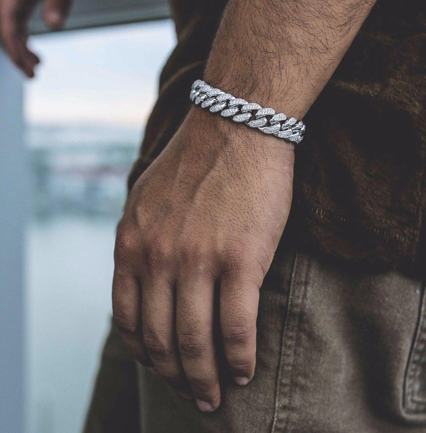 Mens iced out lab diamond cuban link bracelet labs diamond and