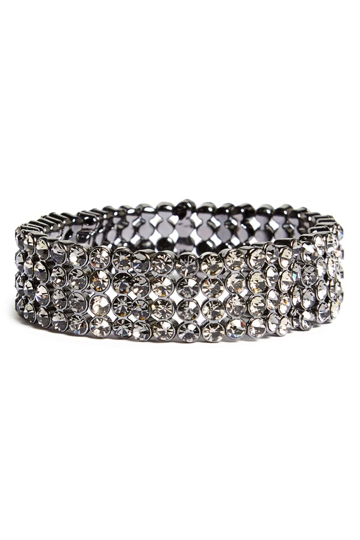 Natasha Accessories Natasha Crystal Hematite Stretch Bracelet UC703y