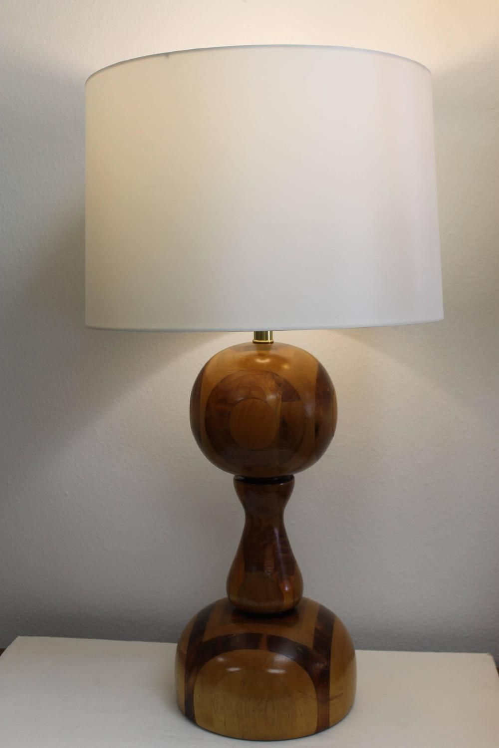 Monumental Marquetry Lamp Wooden Lamp Wooden Table Lamps Lamp