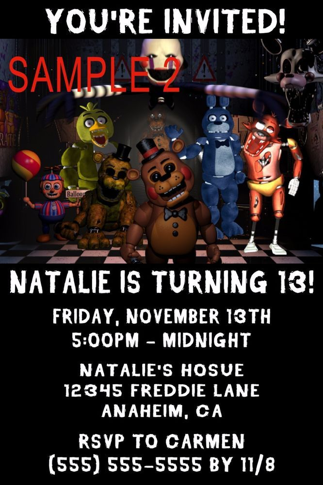 10 Five Nights At Freddys Birthday Invitations BirthdayChild