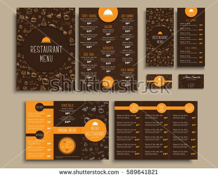 Design business cards and a4 menu folding brochures and flyers design business cards and a4 menu folding brochures and flyers narrow for a restaurant or cafe templates style brown and orange colors with drawings by reheart Choice Image