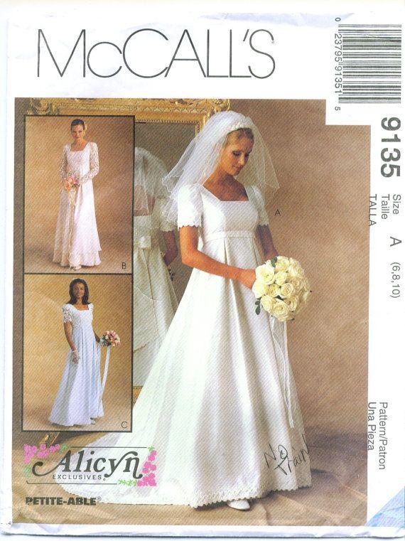 Mccall S 9135 Alicyn Wedding Dress Sewing Pattern Size 6 8 10