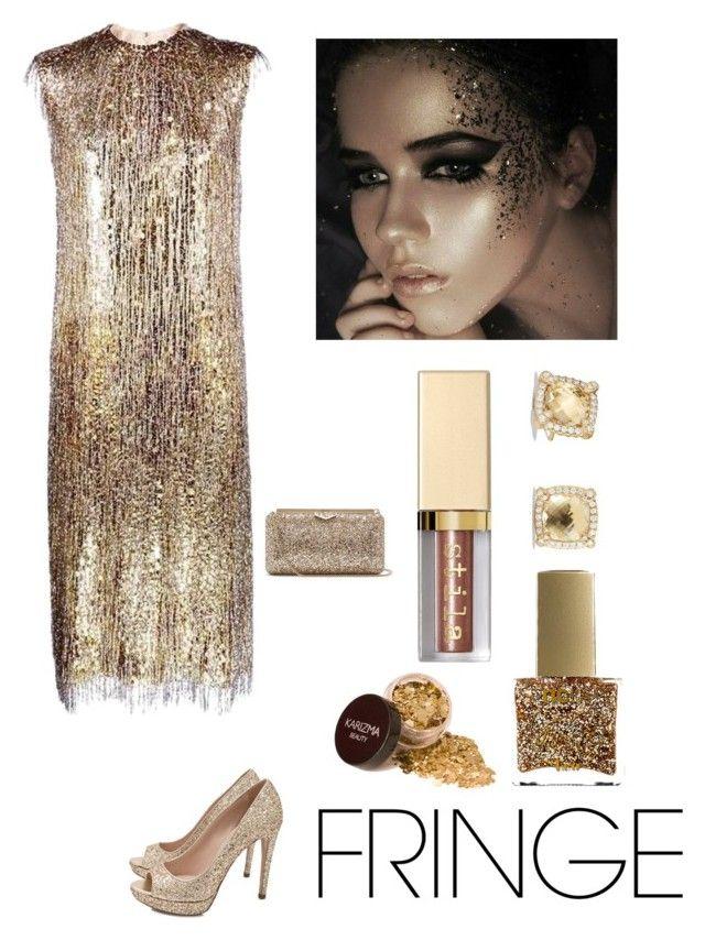 """Golden Elegance"" by kotnourka ❤ liked on Polyvore featuring Miu Miu, Jimmy Choo, ncLA, Stila and David Yurman"