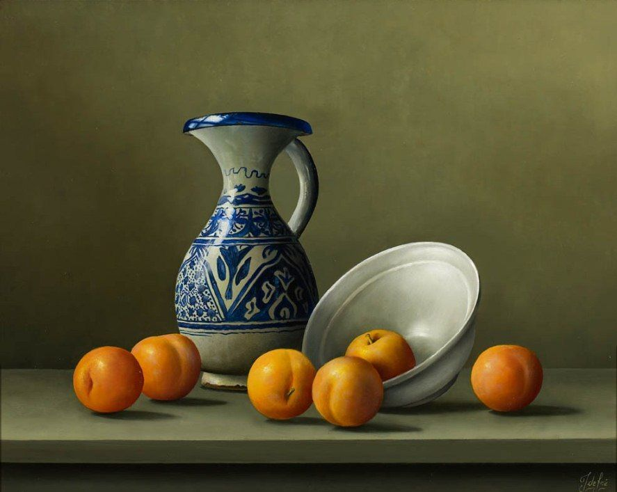 "https://www.facebook.com/MiaFeigelson ""Ripe plums and antique pottery"" By Johan de Fre, from Lokeren, Belgium (b. 1952) - oil on panel; 16 x 20 in - © Panter & Hall Gallery, London http://www.panterandhall.com/"