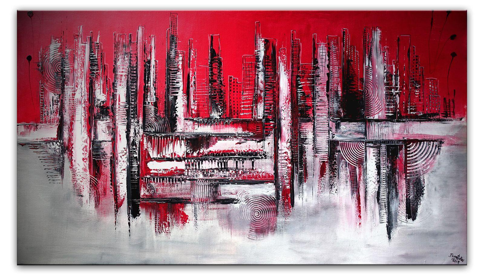 abstrakte skyline malerei rot wandbild stadtbild gemalde kaufen abstraktes verkaufen kunst schwarz weiß bilder abstrakt