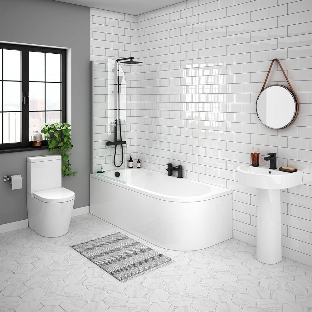 Arezzo Modern 1700 Shower Bath Suite Victorian Plumbing Uk Shower Bath Modern Bathroom Straight Baths