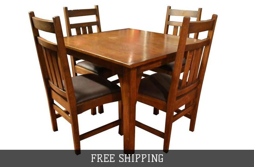 Mission Oak Dining Table 4 Oak Chairs Dark Leather Kitchen