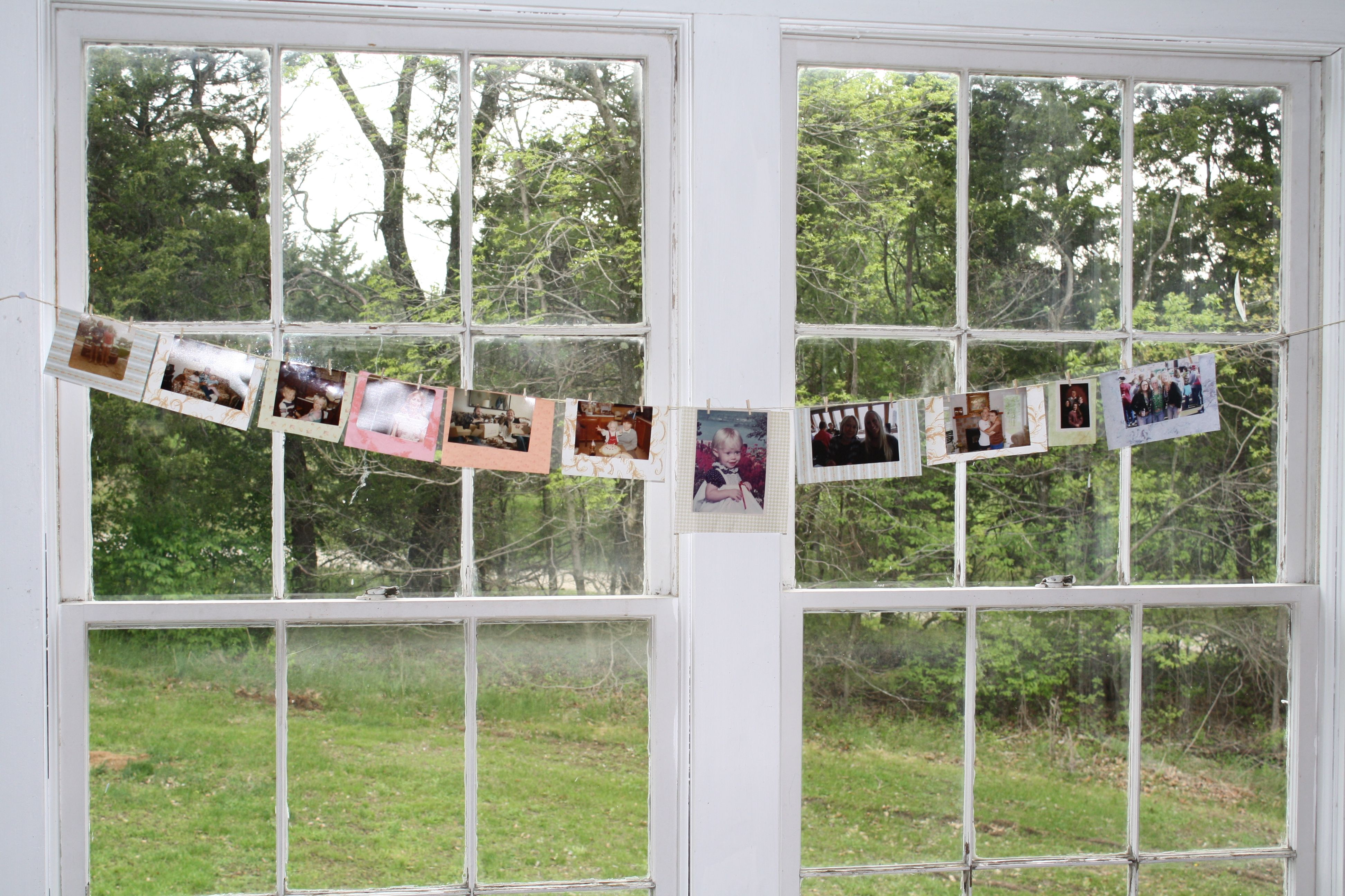 We hung pictures of family and friends from each window.