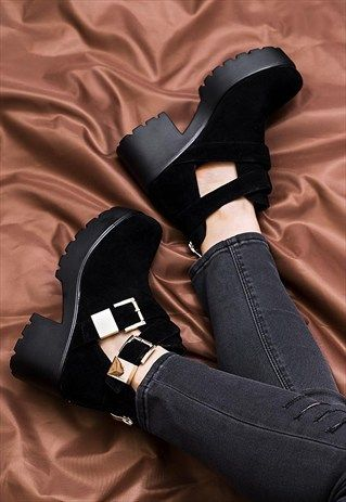 fd377d8073b9e VAMOS Heeled Cleated Sole Cut Out Platform Ankle Boots | me ...