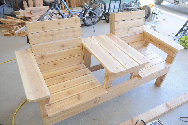 How to Build a Double Chair Bench with Table  Free Plans ...