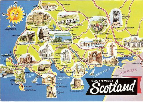 SOUTH WEST SCOTLAND MAP POSTCARD | Modern & Antique, Fashion ... on world map scotland, tourist attraction map of england uk, famous tourist attractions in scotland,