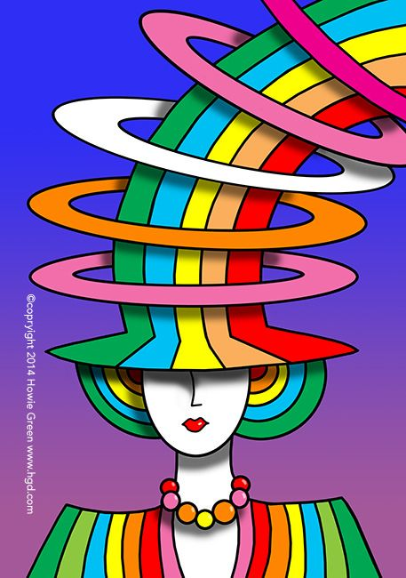 psychedelic pop art deco rainbow hat lady psychedelic hippie art and rainbow art. Black Bedroom Furniture Sets. Home Design Ideas